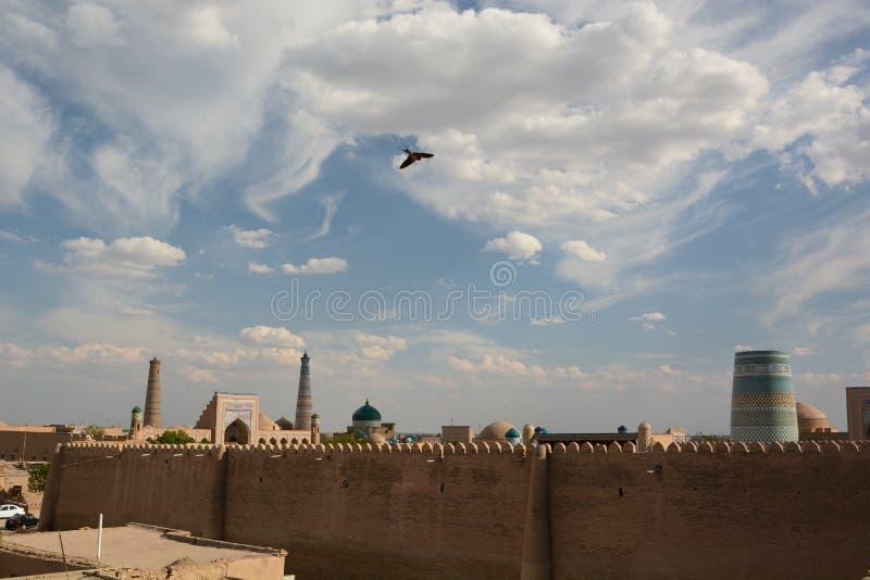 The Kunya Ark walls. Itchan Kala. Khiva. Uzbekistan. Khiva is a city located in Xorazm Region, Uzbekistan; Itchan Kala is the old walled town stock photos