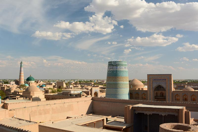 View from the Kunya Ark citadel. Itchan Kala. Khiva. Uzbekistan. Khiva is a city located in Xorazm Region, Uzbekistan; Itchan Kala is the old walled town royalty free stock images