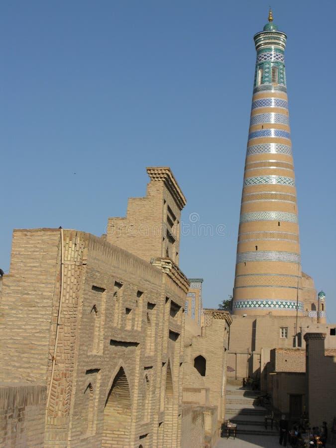Khiva Minaret. A minaret in the Uzbek city of Khiva stock photo
