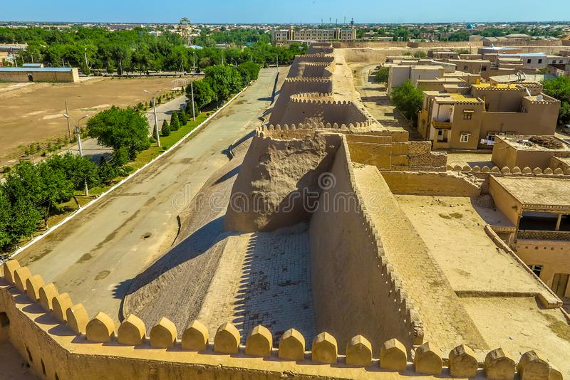 Khiva Old City 46. Khiva Old Town Kunya Ark Citadel Cityscape Viewpoint of the External City Walls royalty free stock photography