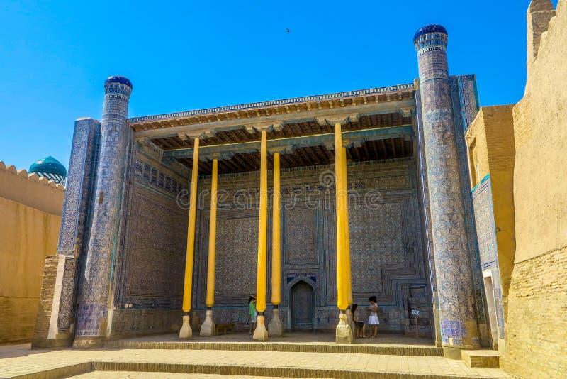 Khiva Old City 47. Khiva Old Town Kunya Ark Citadel Ak Sheikh Bobo Wooden Columns and Blue Tiles Ornament stock photo
