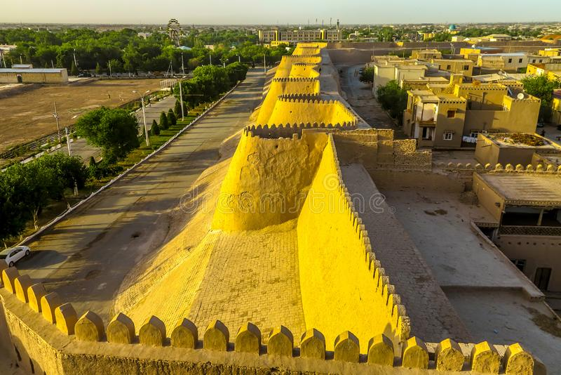 Khiva Old City 100. Khiva Old Town Kunya Ark Citadel Cityscape Viewpoint of the External City Walls at Sunset royalty free stock image