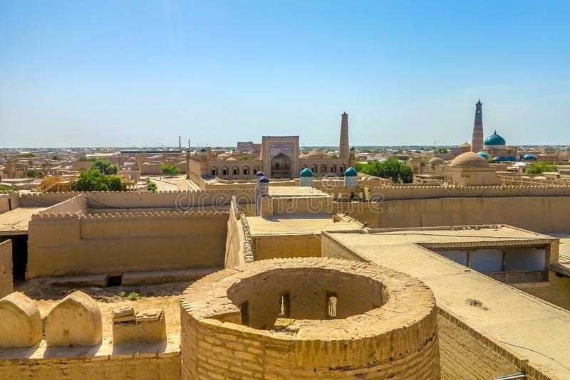 Khiva Old City 42. Khiva Old Town Kunya Ark Citadel Cityscape Viewpoint of Mohammed Rakhim Khan Madrasa royalty free stock image