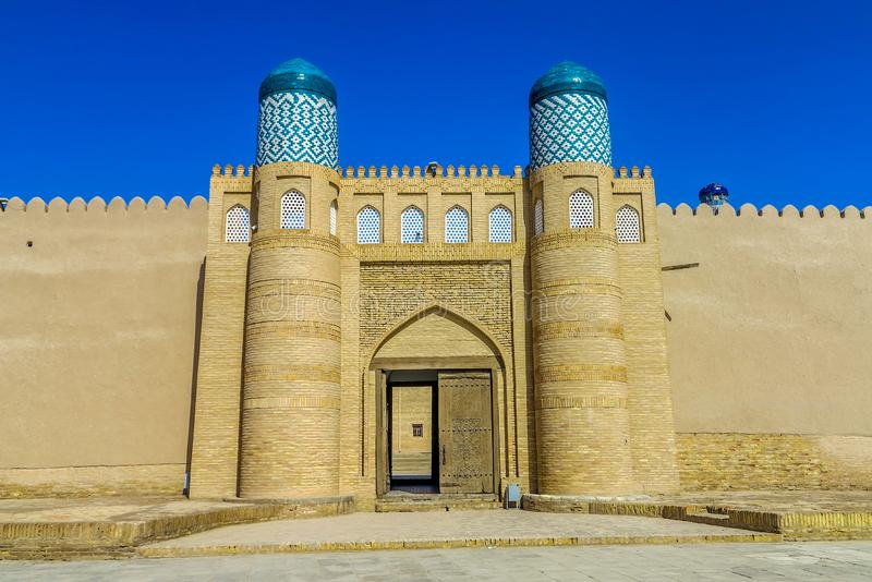 Khiva Old City 36. Khiva Old Town Kunya Ark Citadel Main Gate Entrance Viewpoint stock image