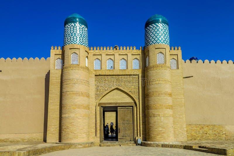 Khiva Old City 23. Khiva Old Town Kunya Ark Citadel Main Gate Entrance Viewpoint at Sunrise stock photography