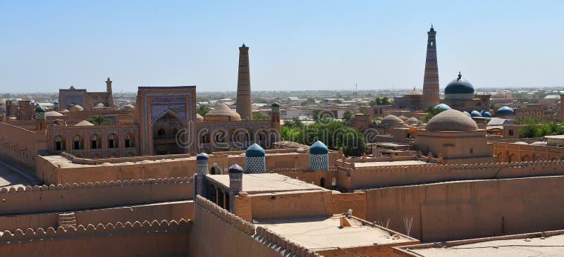 Khiva: panorama di vecchia città fotografia stock