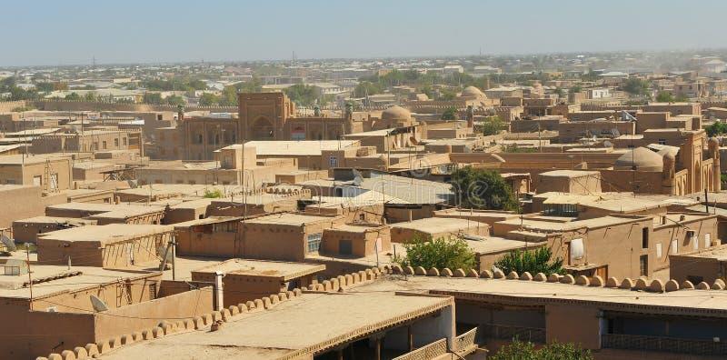 Khiva: panorama di vecchia città immagini stock libere da diritti