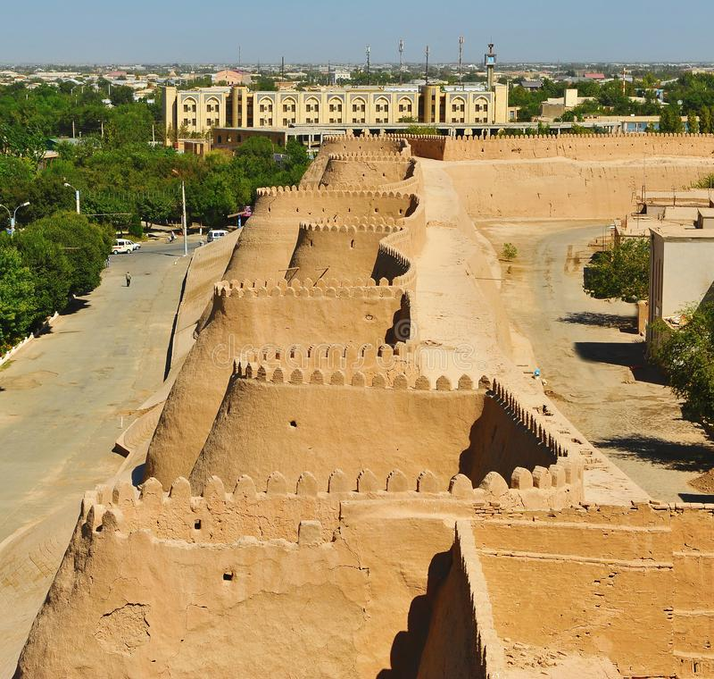 Khiva: parete della fortezza fotografia stock libera da diritti