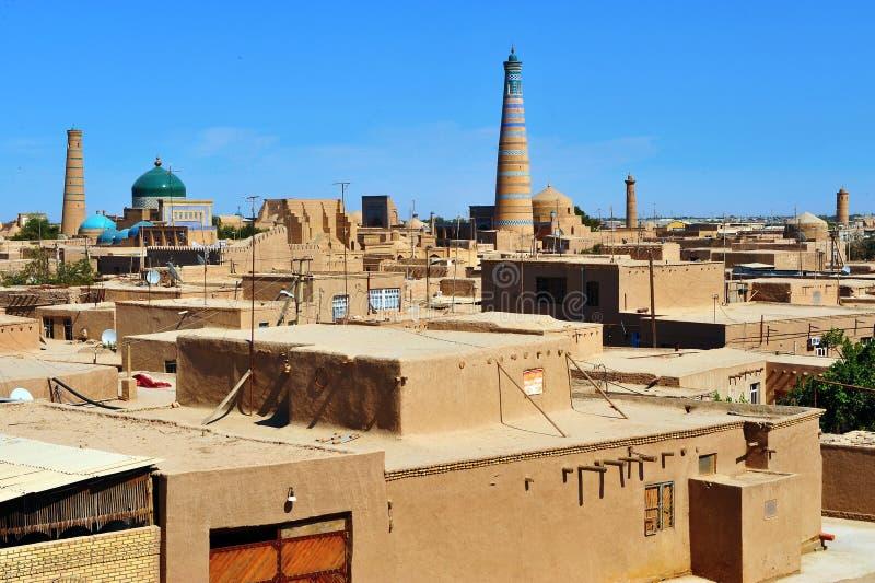 Khiva: piccola città storica nell'Uzbekistan fotografia stock libera da diritti