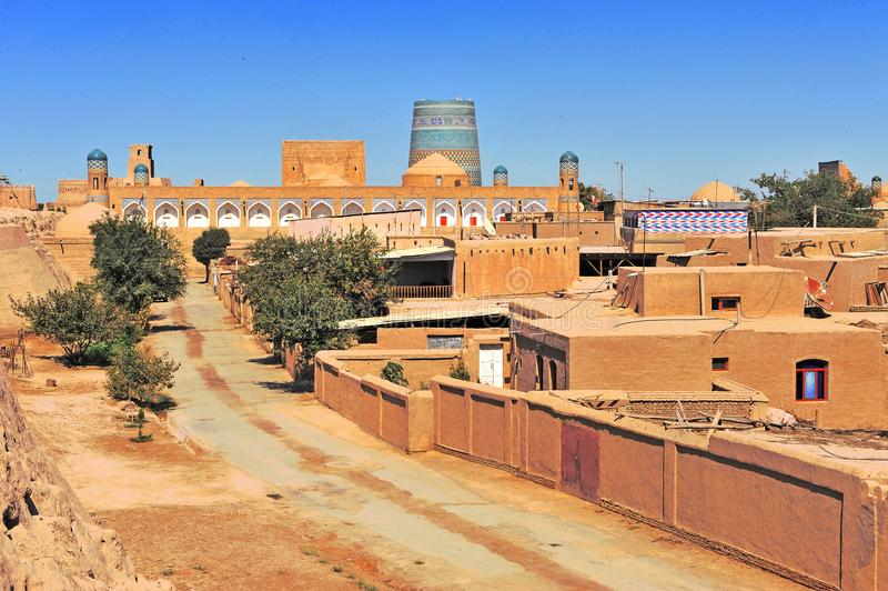 Khiva: piccola città storica nell'Uzbekistan fotografie stock