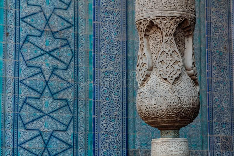Khiva Toshhovli, dekorativ träkolonn, arkivfoton