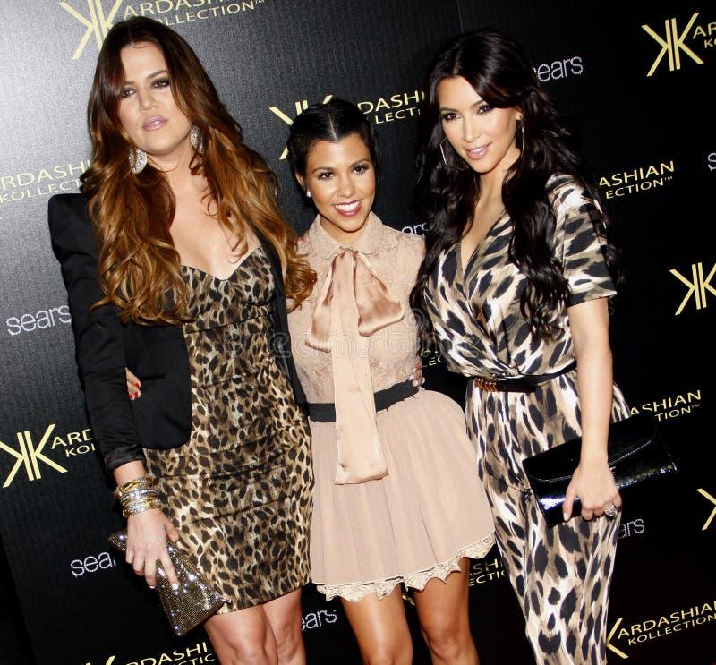 Khloe Kardashian, Kourtney Kardashian et Kim Kardashian photo stock