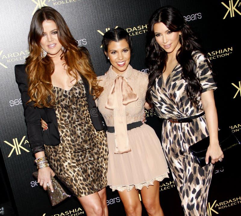 Khloe Kardashian, Kourtney Kardashian et Kim Kardashian image libre de droits