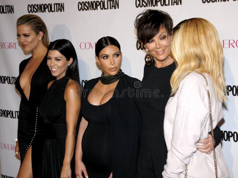 Khloe Kardashian, Kourtney Kardashian, Kim Kardashian, Kris Jenner et Kylie Jenner image libre de droits