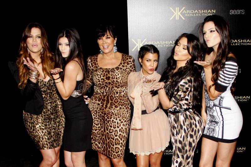 Khloe Kardashian, Kylie Jenner, Kris Jenner, Kourtney Kardashian, Kim Kardashian e Kendall Jenner fotografia de stock
