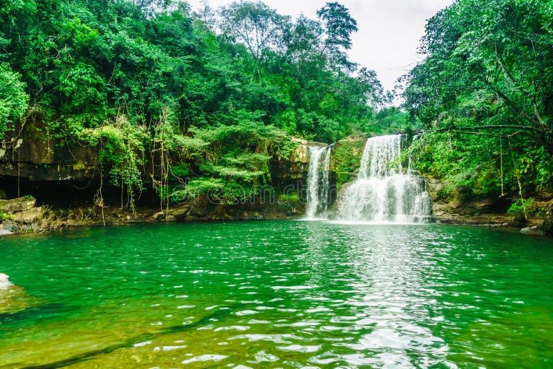 Khlong Chao Waterfall en la isla de Koh Kood - Tailandia foto de archivo