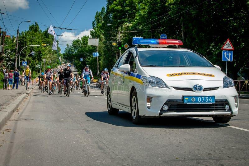 Khmelnitsky, Украина - 31-ое мая 2015 Автомобиль новой полиции e стоковое фото rf