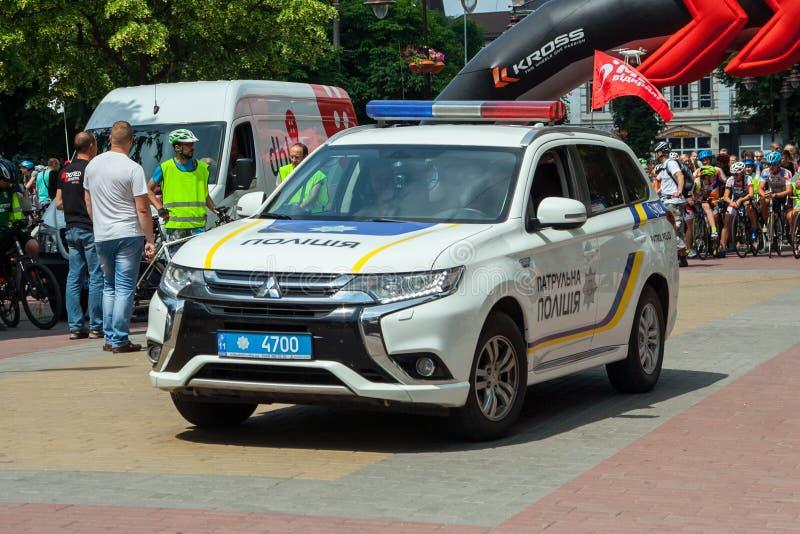 Khmelnitsky, Ucraina - 3 giugno 2018 L'automobile di nuova polizia e immagini stock