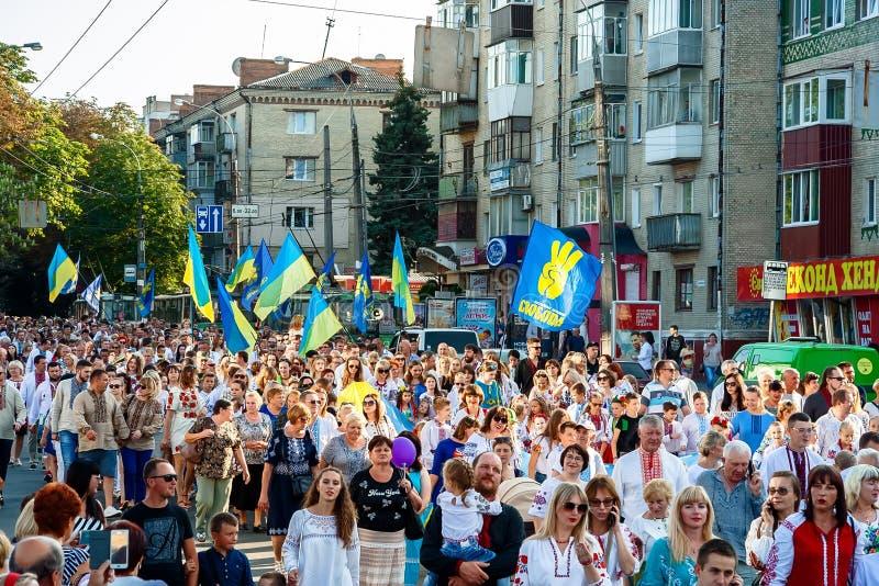 Khmelnitsky Ukraina, Sierpień, - 24, 2018 Ludzie W tradycyjnym Ukr obrazy stock