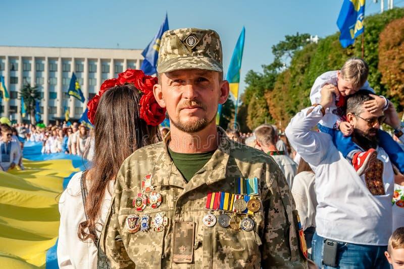 Khmelnitsky, Ukraine - 24 août 2018 Un combattant sur HOL images stock