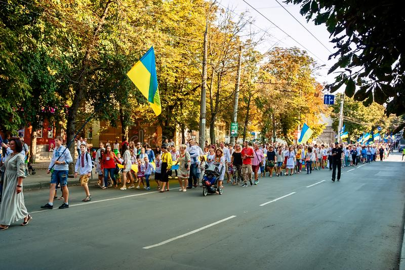 Khmelnitsky, Ukraine - August 24, 2018.People In traditional Ukrainian clothes on the holiday Independence Day of Ukraine. Khmelnitsky, Ukraine - August 24 royalty free stock photo