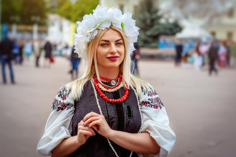 Khmelnitsky, Ukraine - May 19, 2016. A girl in traditional Ukrainian clothes at the Parade of Vyshyvanok stock photos