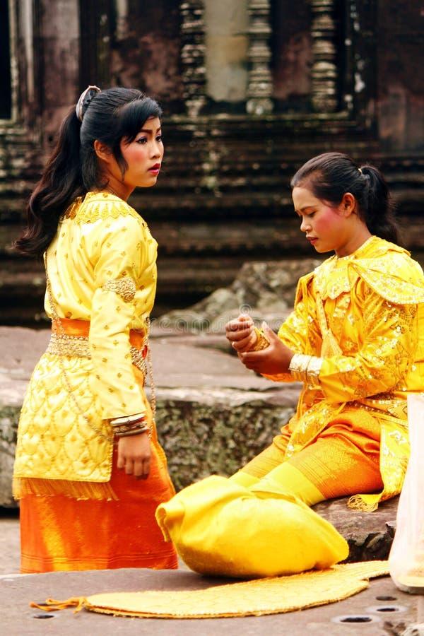 Khmer apsara at Angkor wat temple royalty free stock images