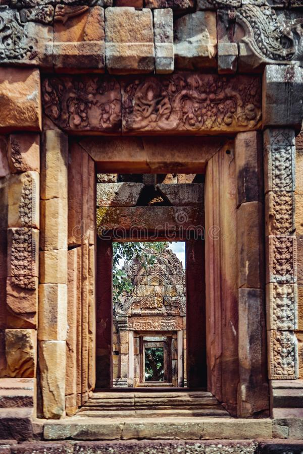 Khmer Architecture of Prasat Muang Tam Castle, Buriram. royalty free stock photos