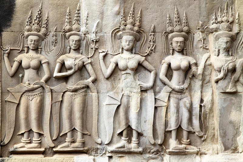 Download Khmer carving in Angkor stock image. Image of historic - 22732307