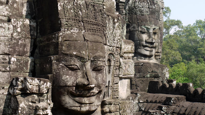 Khmer Head Carvings Stock Photography