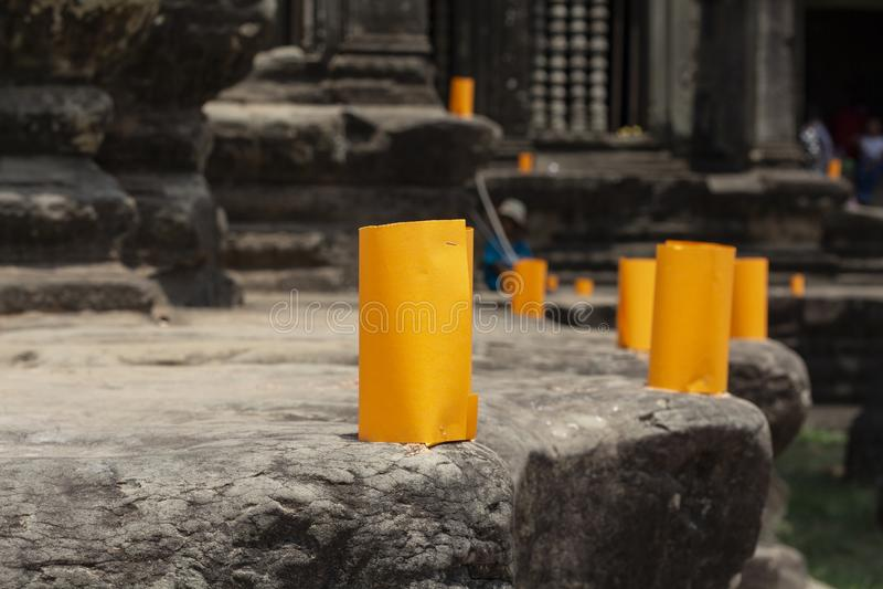 Khmer nowego roku papierowy lampion na kambodżańskiej świątyni Khmer nowego roku świętowania tradycja zdjęcie royalty free