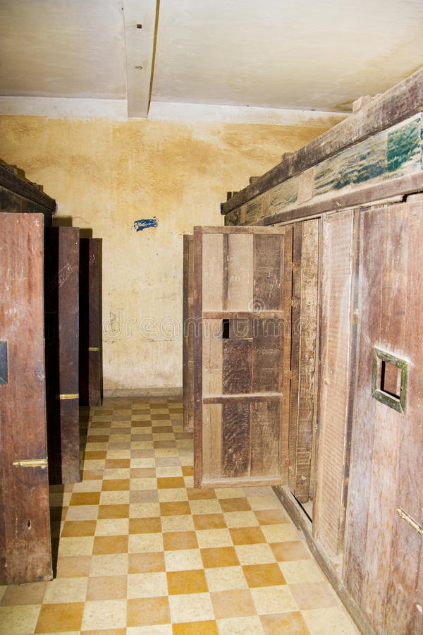 Khmer Rouge Prison Cells. This is the actual tiny prison cells where many Cambodians were tortured and murdered by the Khmer Rouge. Formerly a school, converted royalty free stock photography