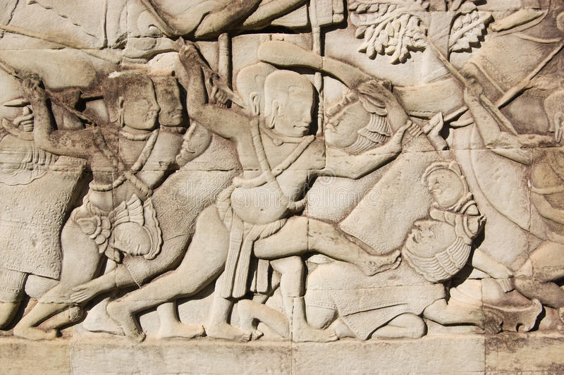 Download Khmer Soldier Killing Cham Warrior Carving Stock Image - Image of kill, heritage: 22637007