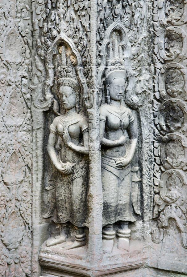 Khmer stone carvings angkor wat cambodia stock image