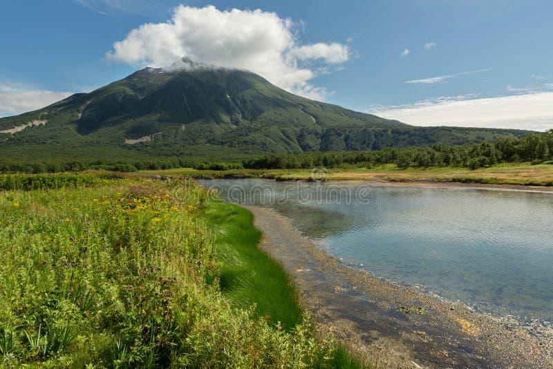 Khodutkinskiye Hot Springs på foten av vulkan Priemysh Den södra Kamchatka naturen parkerar royaltyfria bilder