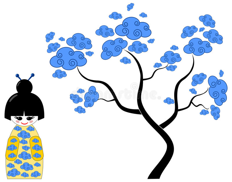Khokeshi doll with clouds tree vector illustration
