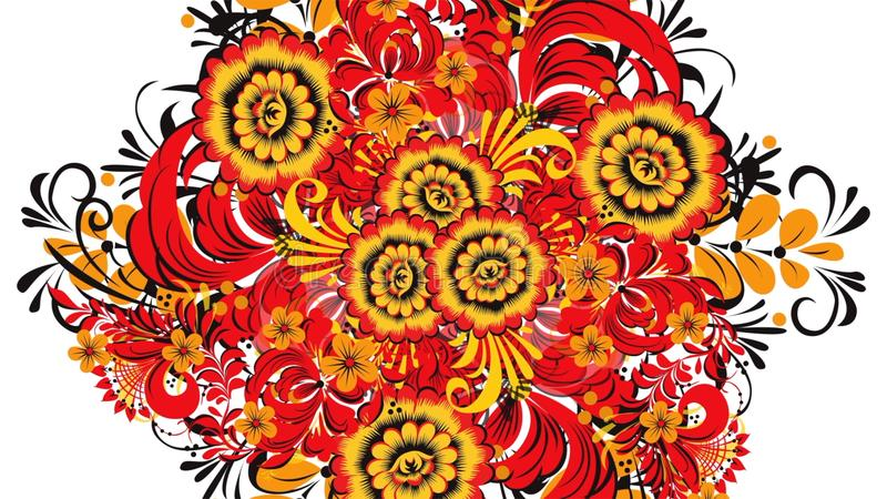 Khokhloma Abstrakcjonistyczny fractal transformaci tło Loopable Obraz Khokhloma Rosja jaskrawi czerwień kwiaty i royalty ilustracja