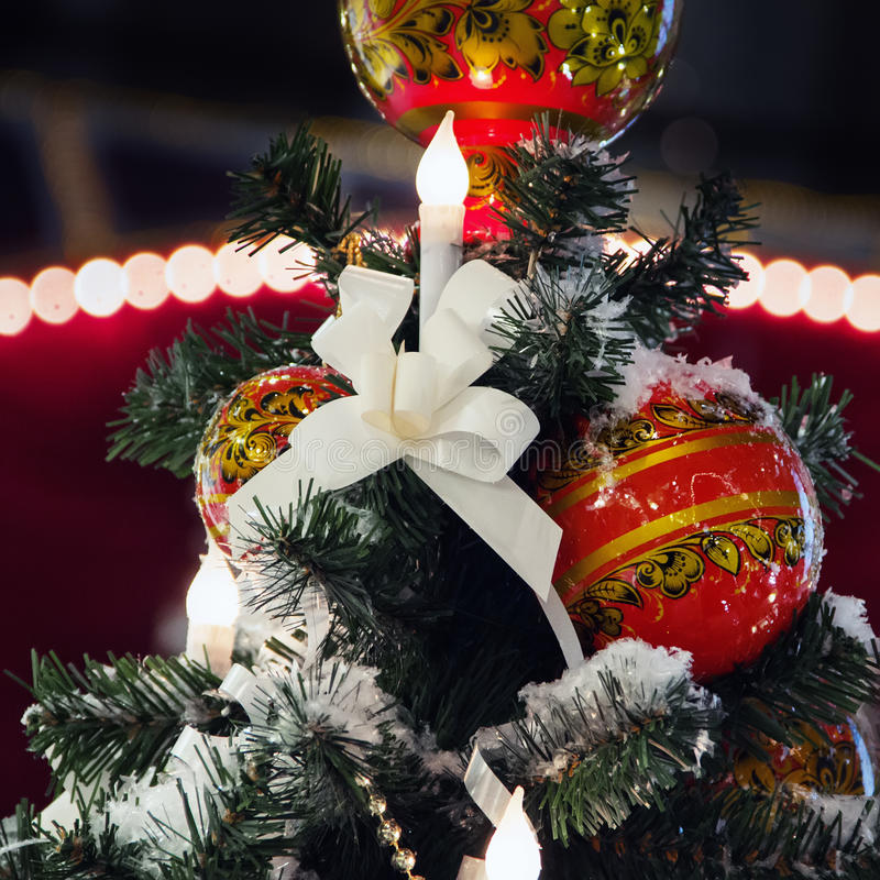 Khokhloma balls on a Christmas tree in Russia stock photos