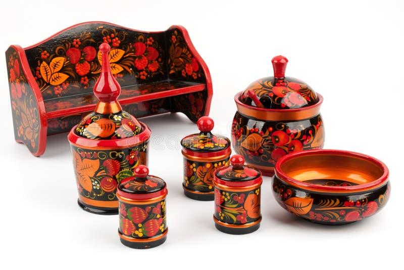 Khokhloma. Conjunto de utensilios de la cocina fotos de archivo