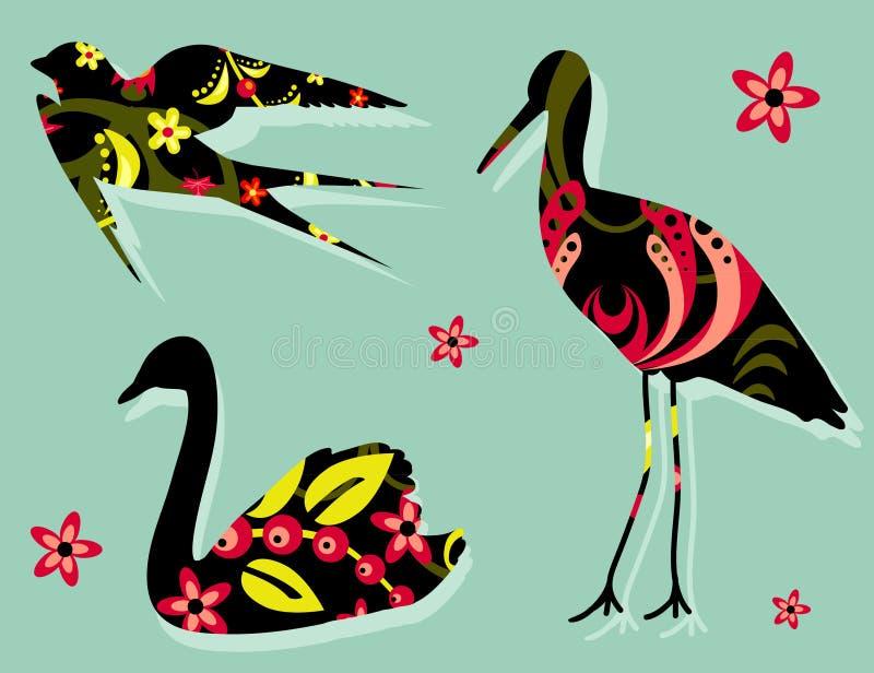 Khokhloma floral de modèle de silhouettes d'oiseaux image libre de droits