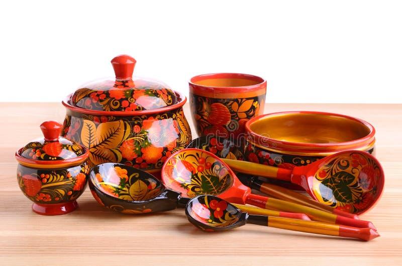 Khokhloma kitchen utensils stock images