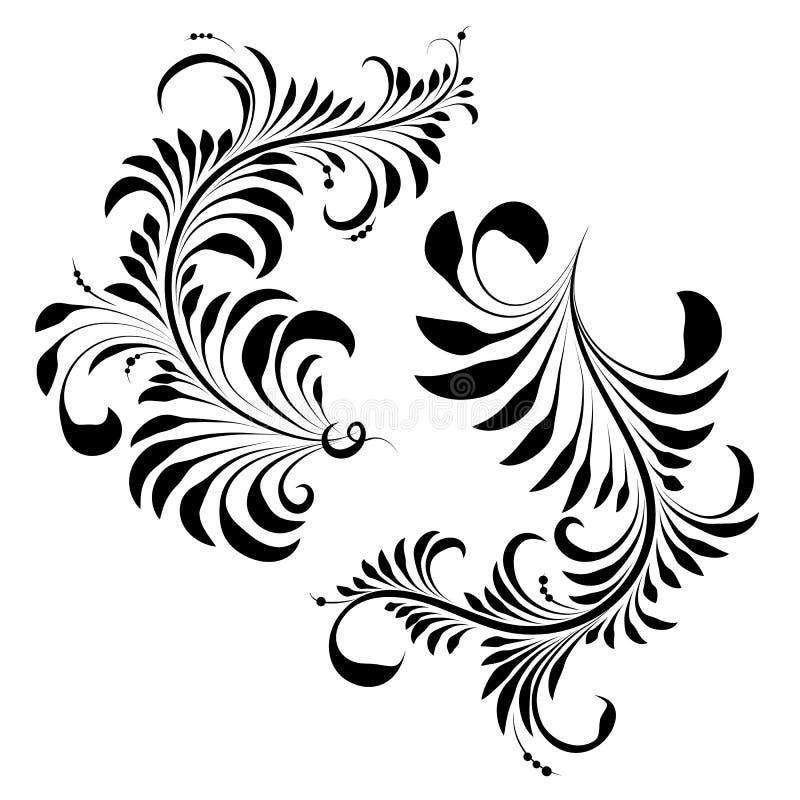 Khokhloma på en vit bakgrund, vektorillustration Smycka svart vektor illustrationer