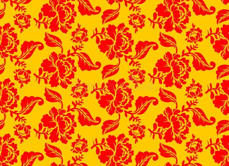 Khokhloma Russian national seamless pattern. stock illustration