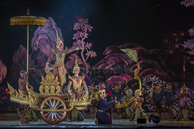 Khon表演艺术显示经典泰国舞蹈 库存照片