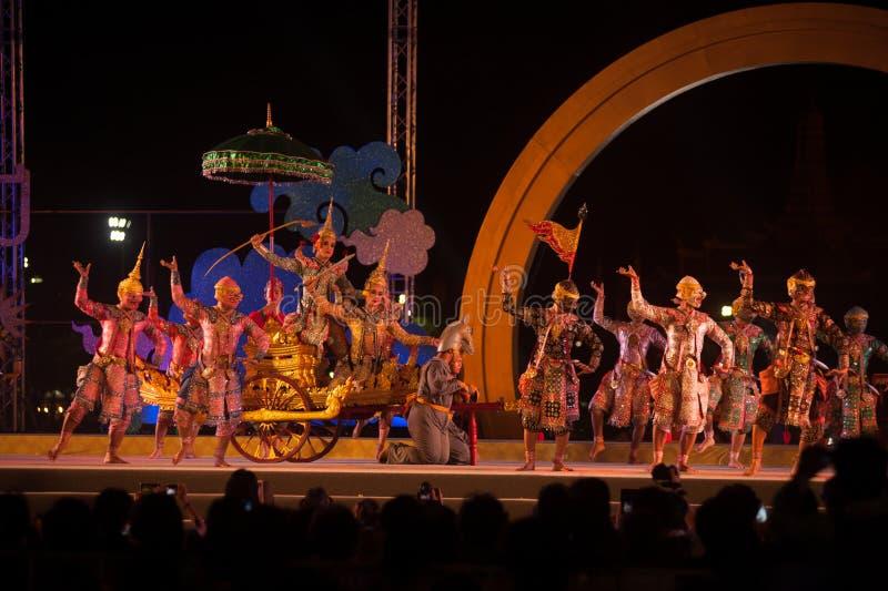 Khon è arte di dramma di ballo tradizionale di classico tailandese mascherato in Tailandia immagini stock libere da diritti