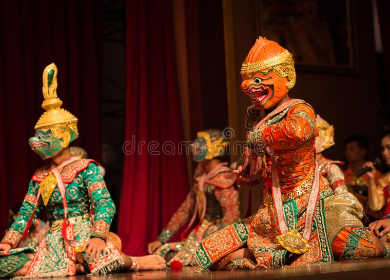 Khon, arte di dramma di ballo tradizionale immagine stock