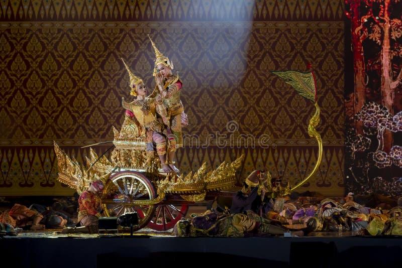 Khon föreställningskonst visar klassisk thailändsk dans arkivbilder