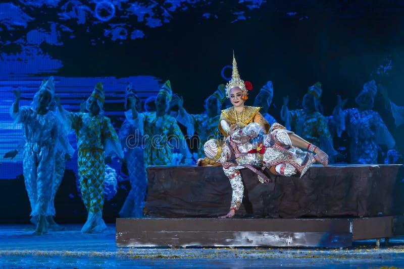 Khon föreställningskonst visar klassisk thailändsk dans royaltyfri foto