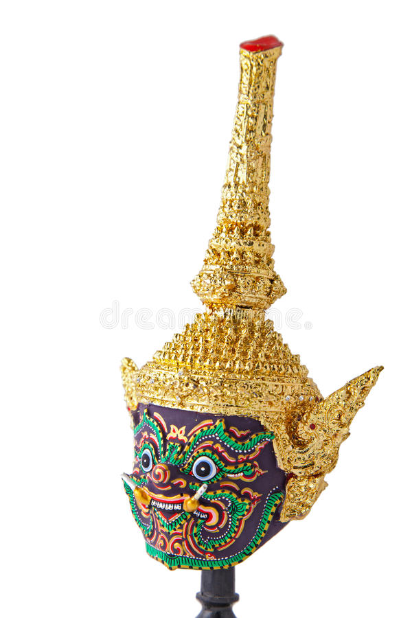 Khon, máscara gigante tailandesa tradicional, vertical fotos de stock royalty free