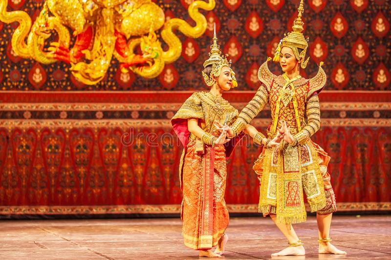 Khon performance, the romance scenes between Phra Ram and Nang Sida in the Ramayana epic royalty free stock image
